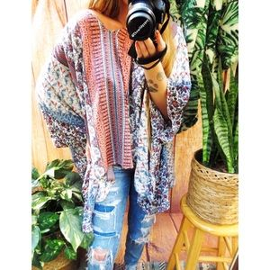 Bohemian wide sleeve oversized tunic top 🌜